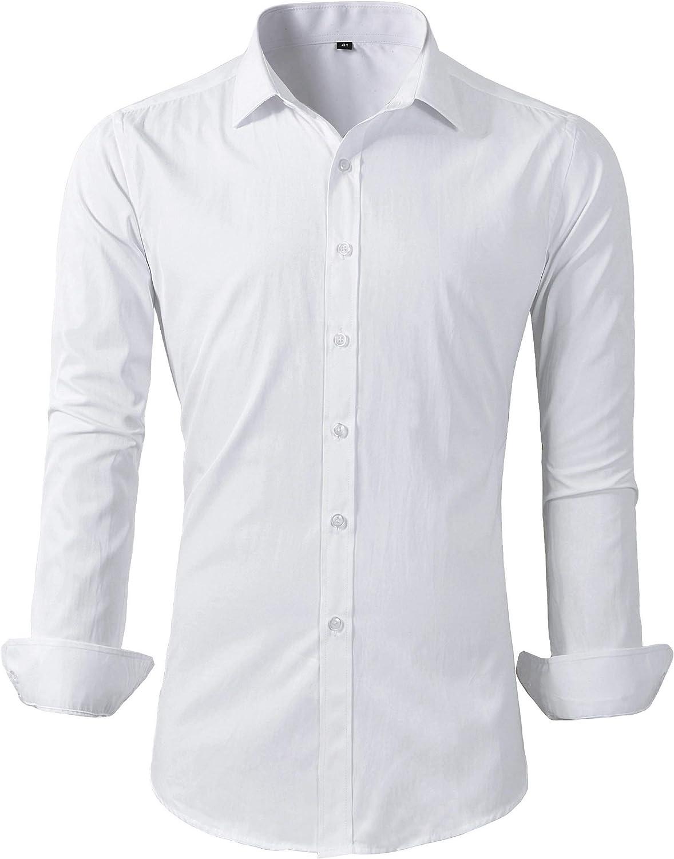 Beninos Mens Casual Long Sleeve Button Down Shirt Slim Fit Dress Shirts