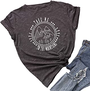 JTJFIT Womens Take Me to The Mountains T Shirt Tee Casual Girl T-Shirt Top