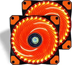 CONISY 120mm PC Case Cooling Fan Super Silent Computer LED High Airflow Cooler Fans - Orange (2 Pack)