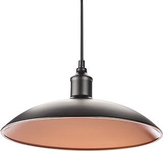 Smartwares 10.044.43 - Lámpara de techo colgante plana, máx. 60 W, estilo industrial retro, E27, diámetro 30 cm, cable de 105 cm, negro y cobre