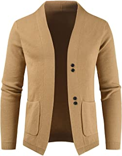 Men's Shawl Collar Cardigan Knitwear Button Decoration Large Pockets Solid Color Long-Sleeved Casual Wild Jacket Tops