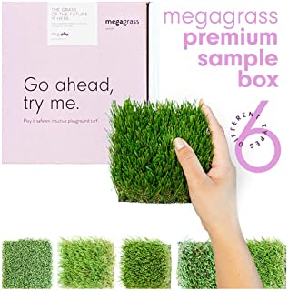 MEGAGRASS 4 x 4 Inches Artificial Grass Samples (6 Different Turf Types) for Multipurpose Use - Indoor/Outdoor Grass Rug, Sport, Lawn, Pet, Golf, Porch, Play
