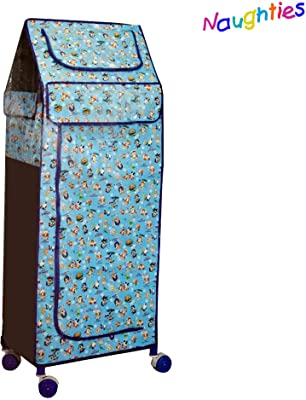 Naughties 5 Shelves Plastic Foldable Kids Almirah, Wardrobe, Clothe Organizer, Toy Box with 4 Wheels