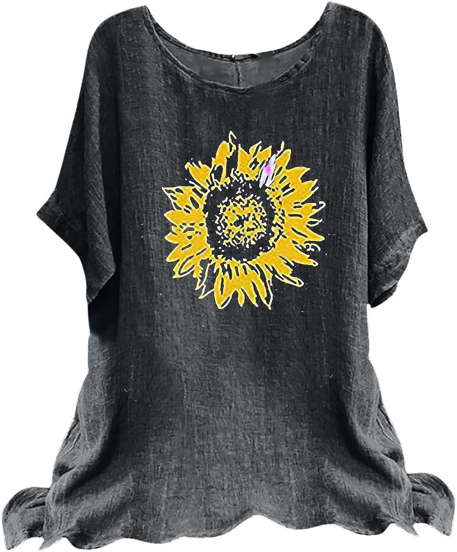 Aritone Womens T Shirts Loose Fit Fashion Women Summer Print Crewneck T-Shirt Short Sleeve Casual Blouse