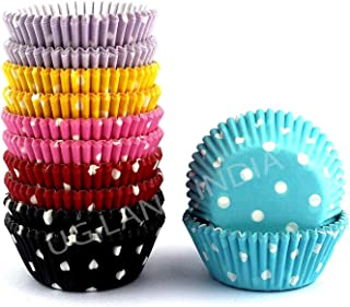 UG LAND INDIA 100 Baking Muffins Paper Cupcake Liners Beautiful Colours Greaseproof Microwave Or Oven Trey Safe Perfect fo...