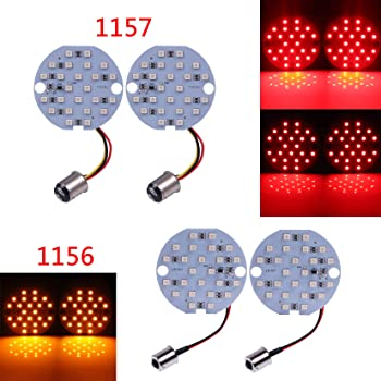 Amazon Com Motorcycle 3inch 77 Mm Led Front 1156 Rear 1157 Turn Signal Insert Bulb Kit For Harley Davidson Automotive