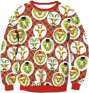 Men Women Ugly Christmas Sweatshirts 3D Xmas Goat Printed Long Sleeve T Shirts Top Blouse