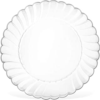 50 Premium Hard Clear Plastic Plates Set By Oasis Creations - 6