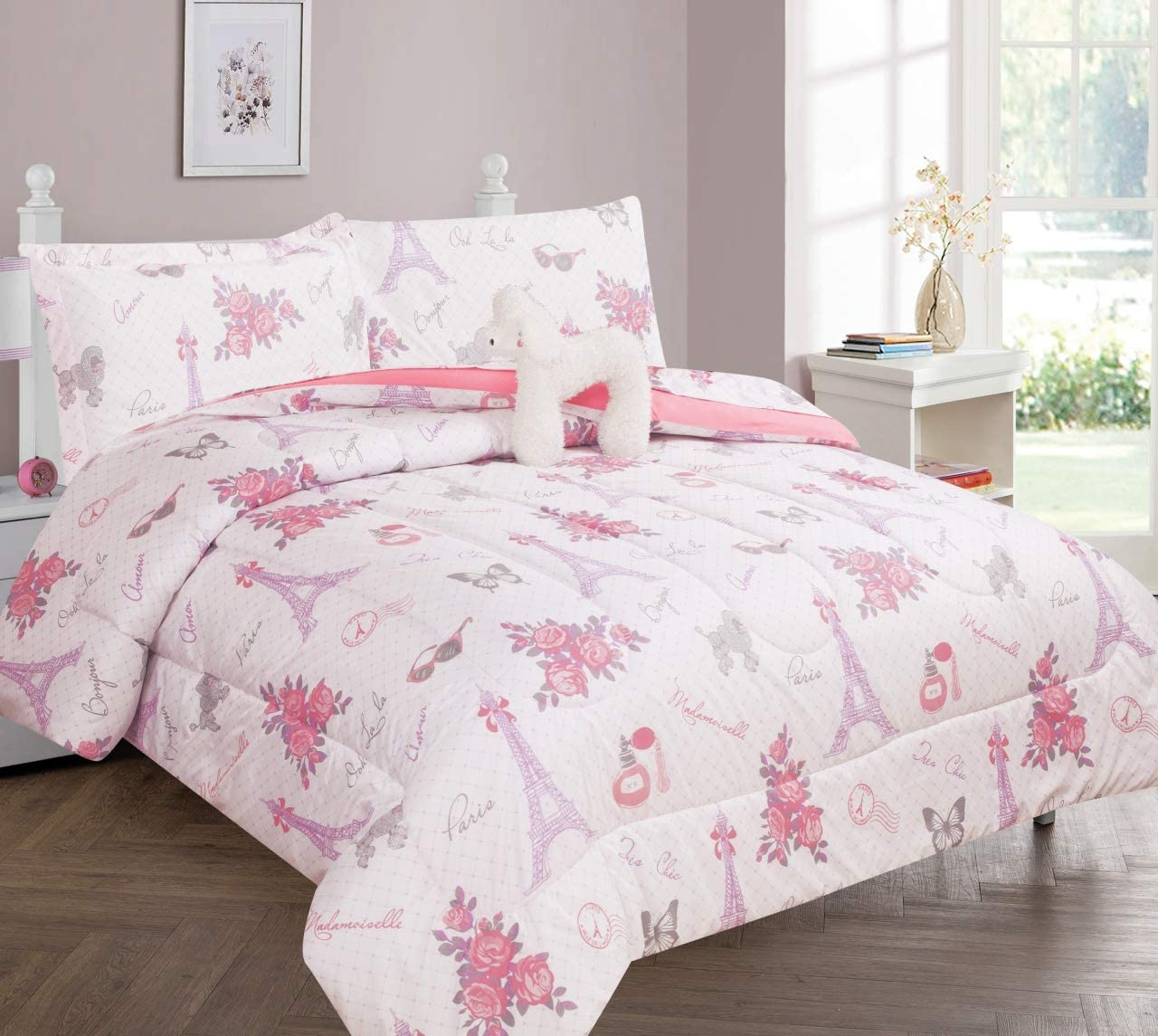 GorgeousHomeLinen 6-8PC Twin/Full Complete Bed in A Bag Comforter Bedding Set with Furry Friend and Matching Sheet Set for Kids (Paris #2, Twin)