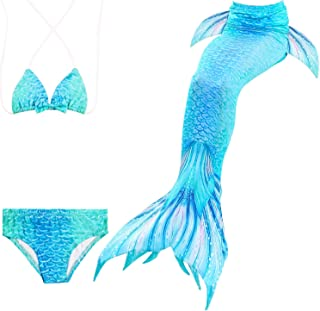 3PCS Girls Mermaid Tail for Swimming Bikini Swimmable Custome Swimwear