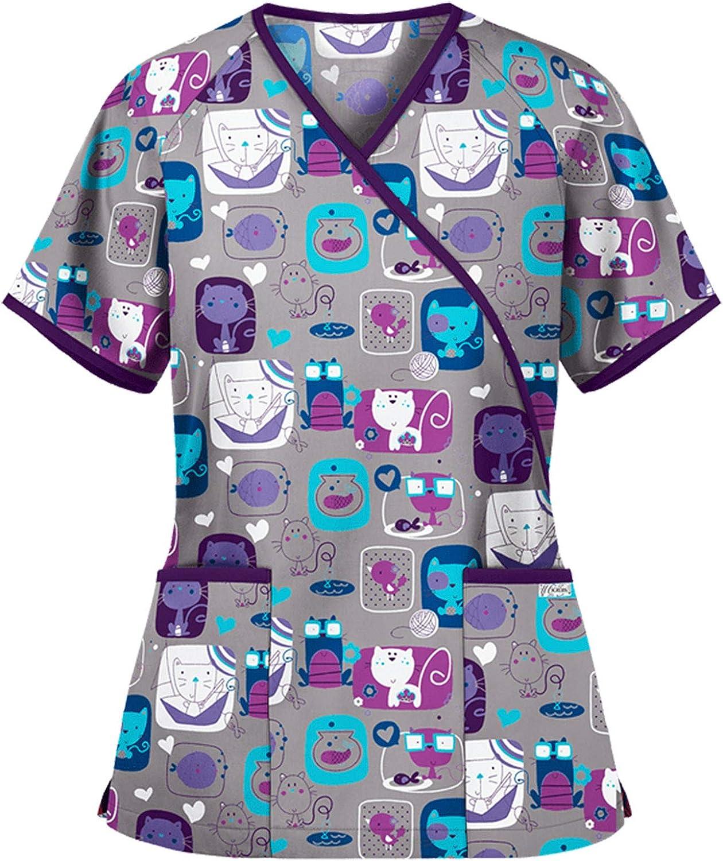 FABIURT Summer Tops for Women,Womens Working Uniform T-Shirt Cute Printed Short Sleeve V-Neck Scrub Tops with Pockets