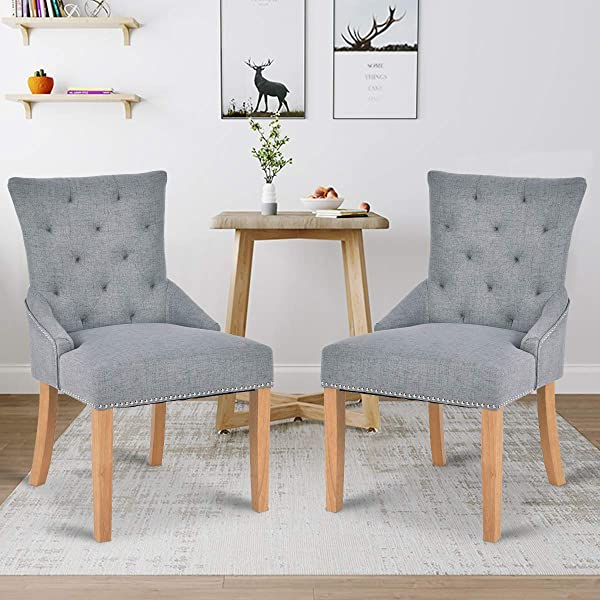 Giantex Set Of 2 Dining Chairs Armless Chair Tufted Design Fabric Upholstered Modern Grey
