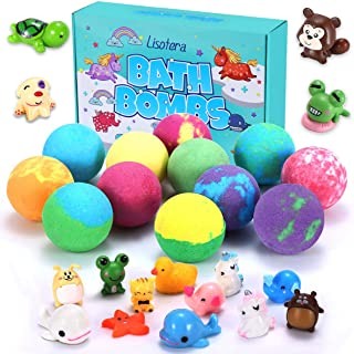 Bath Bombs for Kids with Surprise Inside for Girls Boys Suprise 12 Gift Set, Kids Safe Bubble Bath Fizzies Vegan Essential...