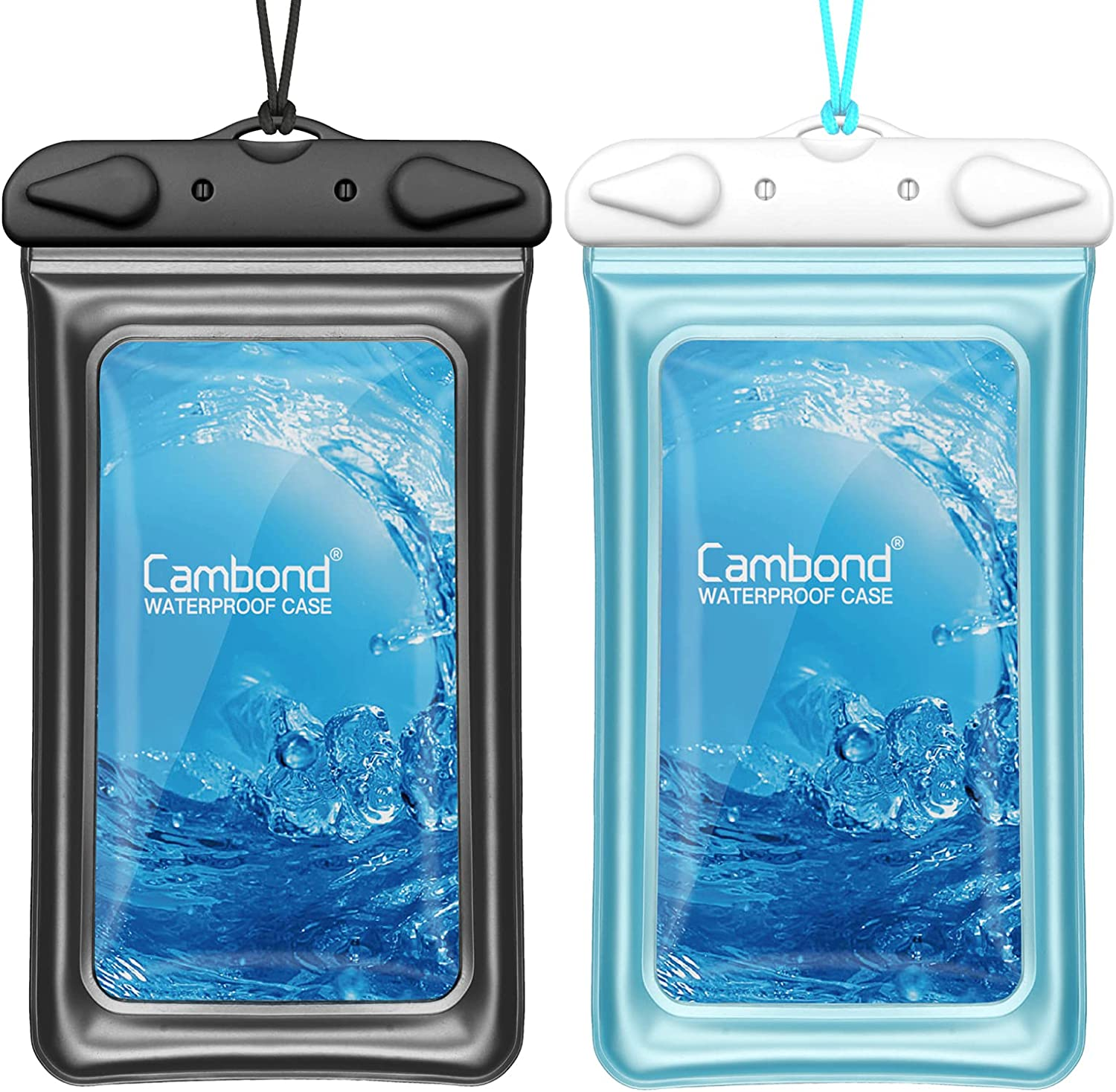 Waterproof Phone Case, Cambond Waterproof Phone Pouch with Strap Both Sides Clear Dry Bag for iPhone 12 Pro Max XR 8 7 Galaxy, Snorkeling Cruise Ship Kayaking Beach Accessories for Vacation, 2 Pack