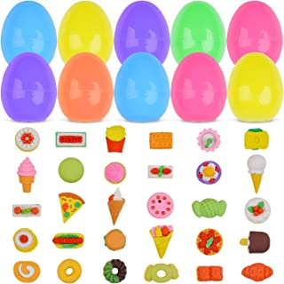 Kalolary 30PCS Easter Eggs Filled with Prefilled 30PCS Cake Erasers Easter Surprise Filled Eggs Toys, Party Favors Set for...