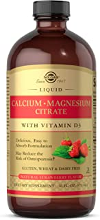 Solgar Liquid Calcium Magnesium Citrate with Vitamin D3 - Delicious Natural Strawberry Flavor, 16 oz - Supports  Strong, H...