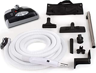 Central Vacuum kit with Power Head 30 foot hose and tools designed to work with Beam Electrolux Nutone Hayden designed to fit all brands black head