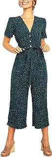 Womens Ruffle Short Sleeve V Neck Wide Leg Pants Jumpsuits Romper Belted