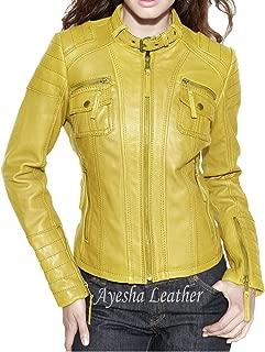 Women's Stylish Genuine Lambskin Motorcycle Biker Leather Jacket 63