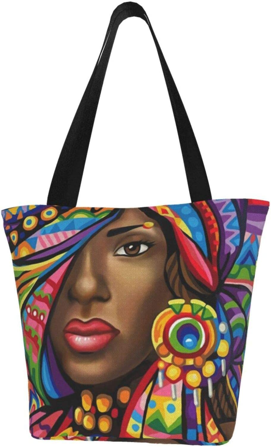 antcreptson African Woman Mosaic Canvas Recommendation Cas Tote Women Selling Bag Large