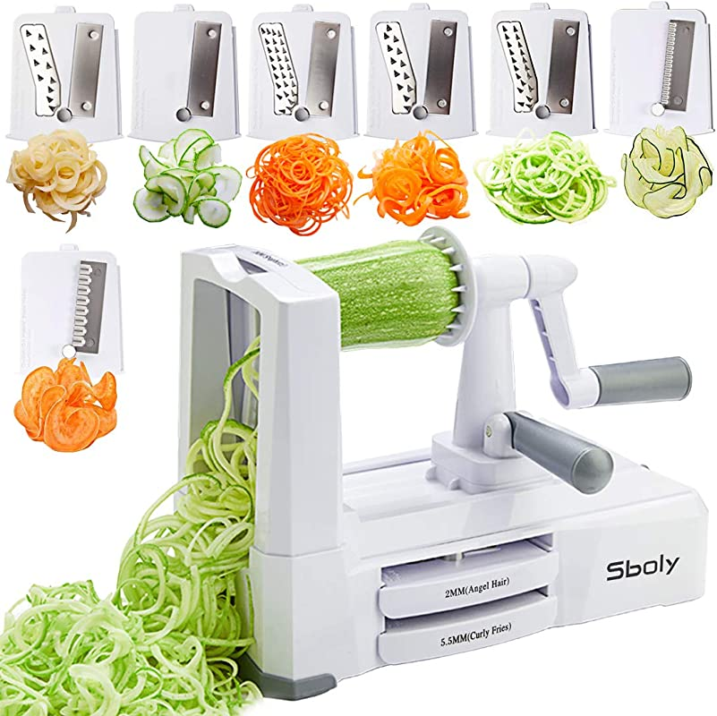 7 Blades In 1 Vegetable Spiralizer Zucchini Spaghetti Maker Zoodle Maker Veggie Pasta Maker Strongest And Heaviest Duty Mandoline Slicer With Container Lid Brush