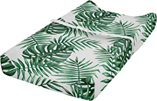 Ambesonne Leaf Changing Pad Cover, Palm Mango Banana Tree Leaves in Tropical Wild Safari Island Jungle Image Artwork, Soft Cover for Diaper Changing Pad with Safety Buckle Holes, Forest Green