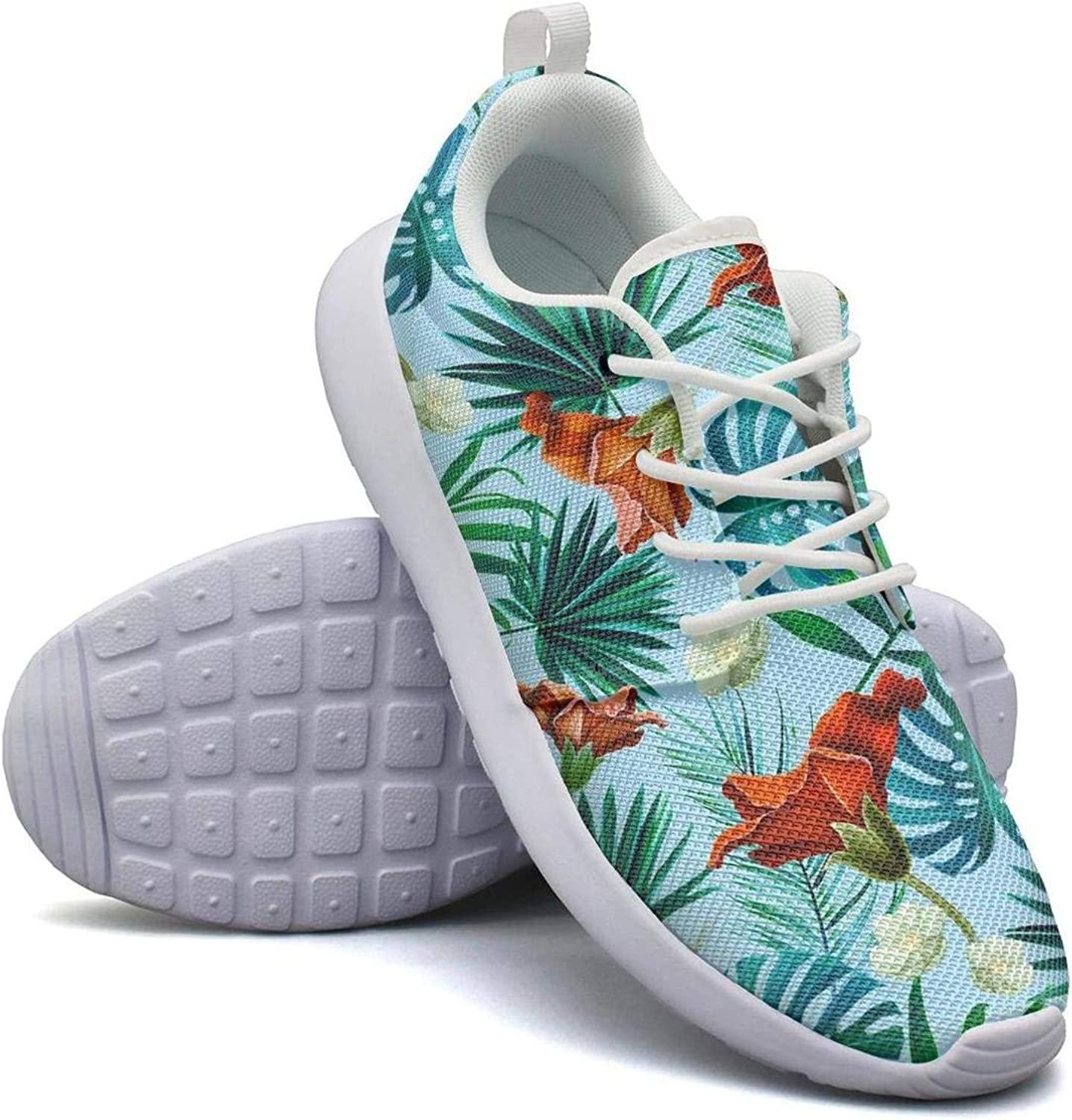 CHALi99 Breathable Woman Lightweight Mesh shoes Tropical Leaves color Ink Pattern Sneakers Walking Lace-Up