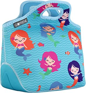 GOPRENE Insulated Lunch Bag For Girls [Fits A Bento Box for Kids] Soft Neoprene Lunch Bag | Blue Little Mermaid | Lunch Box & Thermos Fits Easily | For Any Kid, Baby, Toddler, or Girl Ages 3-10 Years