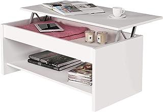 comprar comparacion Samblo Argus - Mesa de centro elevable de melamina, color blanco, 100 x 50 x 42 cm