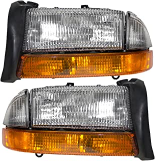 Composite Headlights Headlamps with Park Signal Lamp Driver and Passenger Replacement for Dodge Pickup SUV 55055111AI 55055110AI