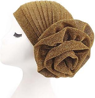 2dab6422574c3b CHUANGLI Vintage Flower Twist Pleated Knotted Stretch Turban Hat Muslim  Ruffle Beanie Scarf Turban Cap