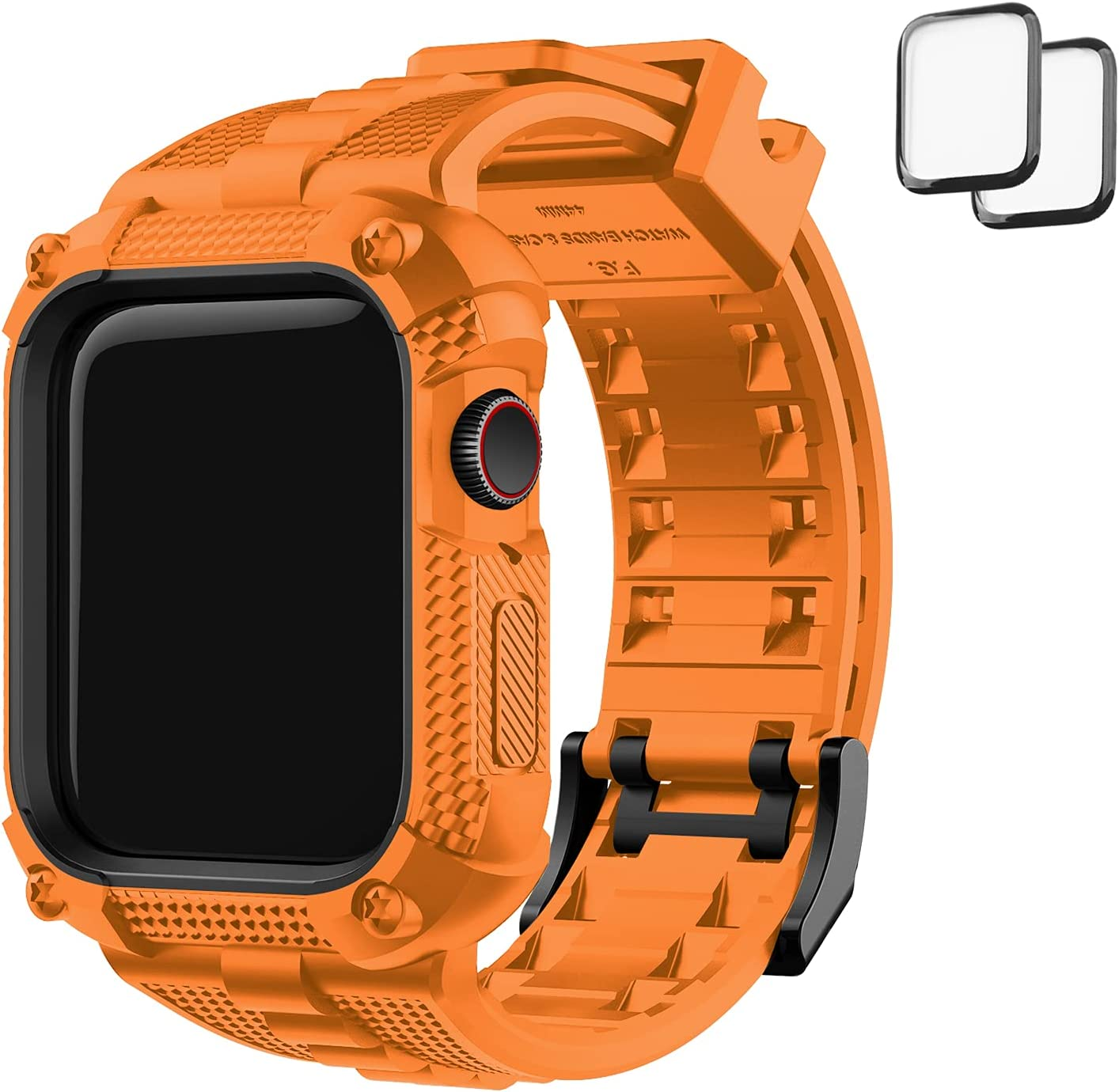 Fullmosa Compatible with Apple Watch Band 40mm with Bumper Case, Rugged iWatch Band with Screen Protector for Apple Watch Series 6/5/4/SE, Orange