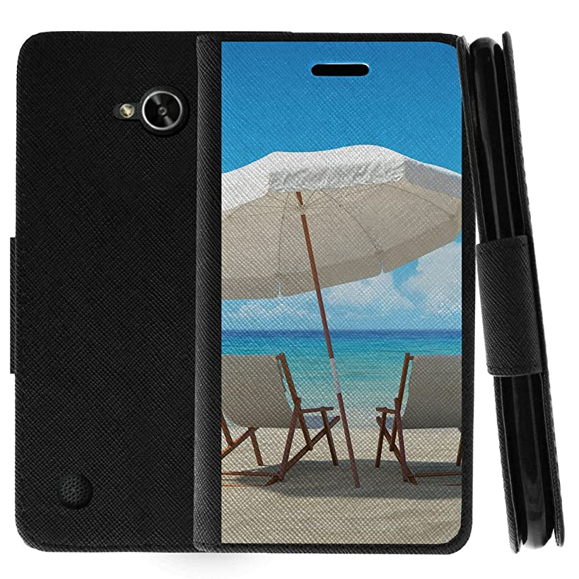 TurtleArmor | Compatible for LG X Power 2 Case | LG Fiesta 2 Case | LG X Charge Case | Flip Kickstand Leather Flip Wallet Case Cover with Card Slots Ocean Beach Design - Ocean View