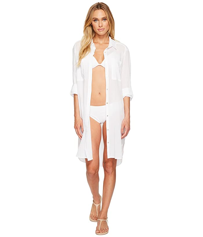 Seafolly Crinkle Twill Beach Shirt (White) Women