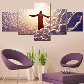 TUMOVO 5 Panel Canvas Wall Art Jesus Christ Prays in The White Clouds Pictures Catholicism Painting Home Decor for Living Room Contemporary Artwork Giclee, Framed Ready to Hang(50''Wx24''H)