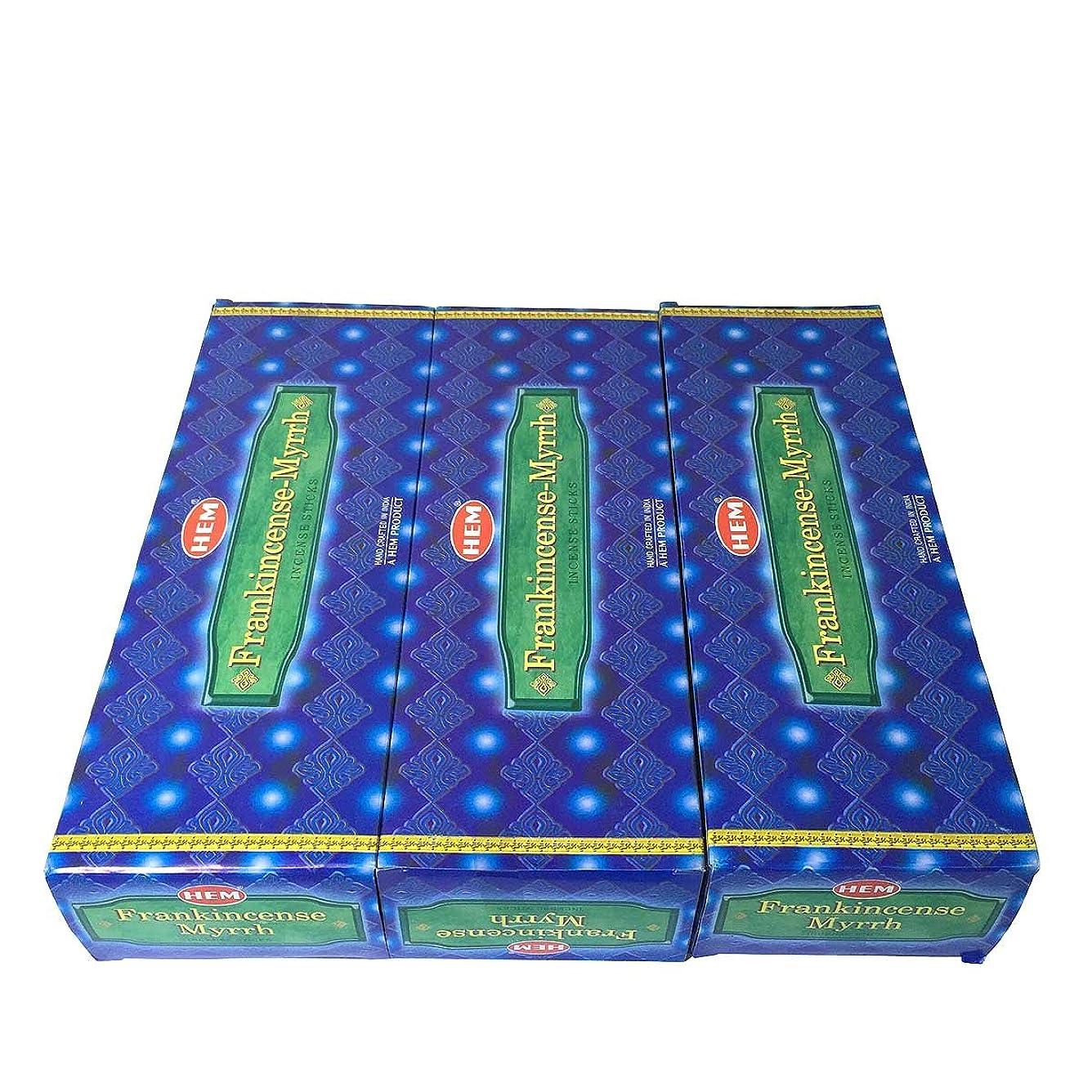 フランキンセンス ミルラ香スティック 3BOX(18箱) /HEM FRANKINCENSE MYRRH/インセンス/インド香 お香 [並行輸入品]