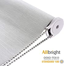 ALLBRIGHT Thermal Insulated Fabric 100% Blackout UV Protection Striped Jacquard Roller Shades for Windows,Easy to Install (LightGray, 35'')