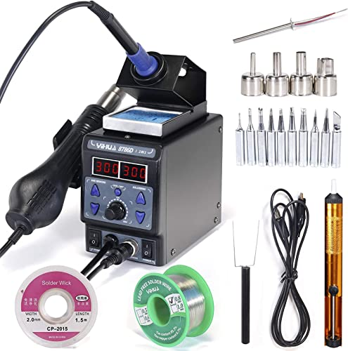 wholesale YIHUA 8786D-I Soldering & Rework discount Station bundle with #133A Soldering Iron Heating Element with Iron wholesale Holder, Soldering Cleaning Kit, and Accessories (25 Items) online sale