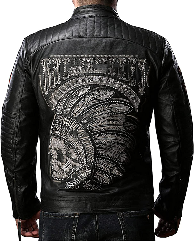 Men's Black Brown Coffee Stand Collar Warm Genuine Cowhide Leather Zip-Up Motorcycle Jacket Outwear Overcoat,XL