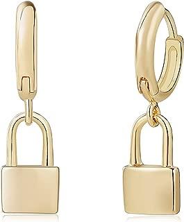 Fettero Gold Huggie Hoop Earrings,Cross/Star/Flamingo/Lightning Bolt Dangle Hoop Cuff Earrings Huggie Stud Earrings for Women
