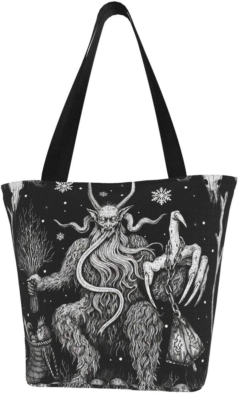 Krampus Christmas Folklore Black Skull Themed Printed Women Canvas Handbag Zipper Shoulder Bag Work Booksbag Tote Purse Leisure Hobo Bag For Shopping