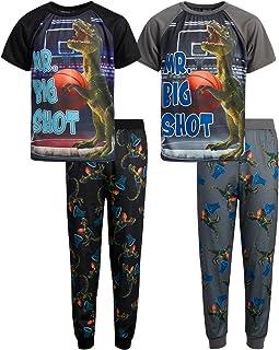 Sponsored Ad - Quad Seven Boys' Pajamas - 4-Piece Short Sleeve Sleep T-Shirt and Sweatpants Sleepwear Set (Big Boy)