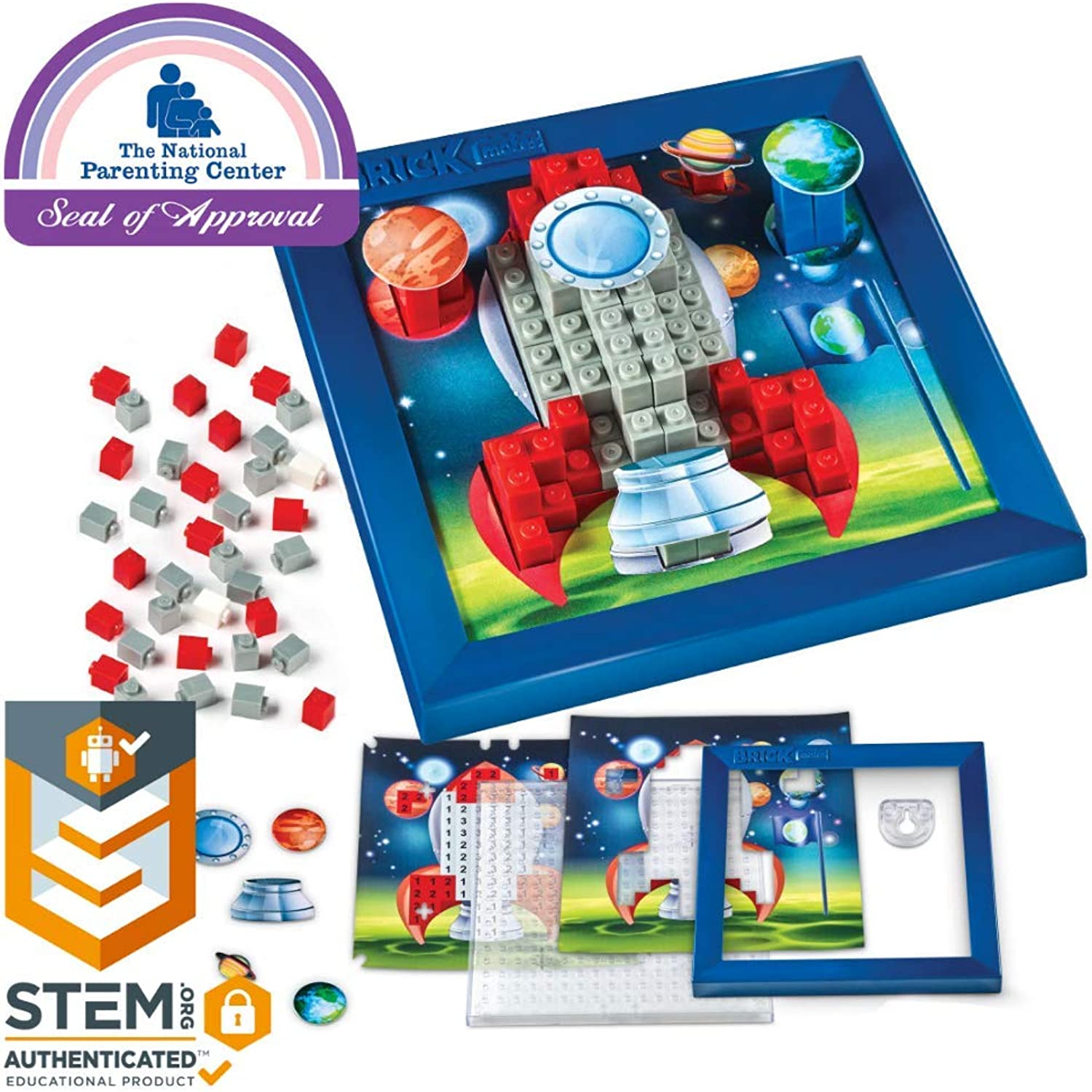 Brick Mates – Stack by Numbers – Rocket Ship – STEM Toy for Kids 5 & Up – 3D Puzzle – Educational Toy – Learning Activity