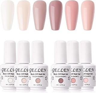 Gellen Gel Nail Polish Kit- Blush Tones Series Natural Nudes 6 Colors, Pastel Pinks Gel Polish - Popular Nail Art Design H...