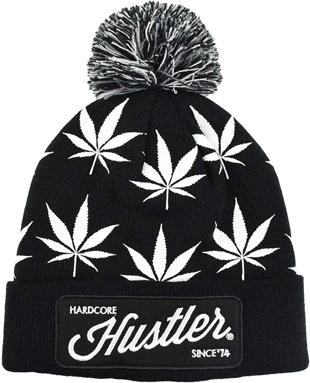 HUSTLER Weed One Size Beanie with Pom
