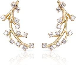Ear Climber Crawler Earrings - Ear Gold Earrings For Women CZ Diamonds Cuff Earring Delicate Modern Jewelry Studs Dainty Crystal Ear Climbers Ear Cuffs Celebrity Approved