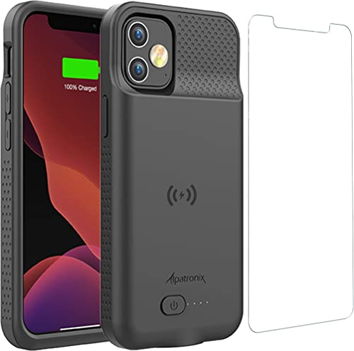Battery Case for iPhone 12 Pro & iPhone 12, 5000mAh Slim Portable Protective Extended Charger Cover with Wireless Cha...