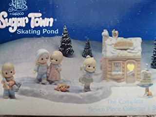 Sugar Town Skating Pond Precious Moments Complete 7 piece Collector Set
