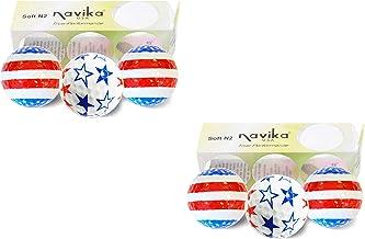 Navika Patriotic USA Flag and Stars Golf Balls Combo 2 Pack (Sleeve of 3 Balls)