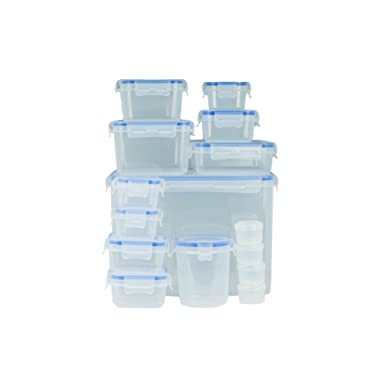 Lock & Stock Food Storage Containers, Round & Rectangular Container Food Storage Set, 15 Count